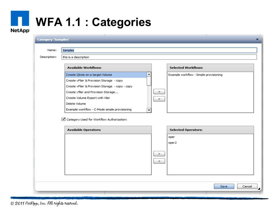 WFA 1.1 : Categories