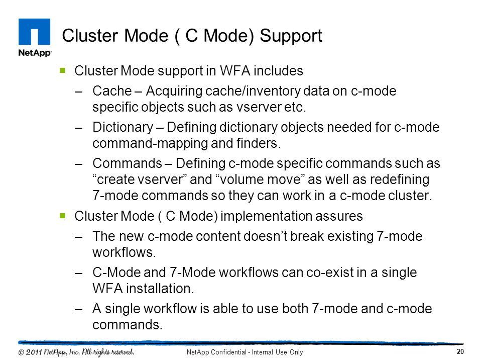 Cluster Mode ( C Mode) Support