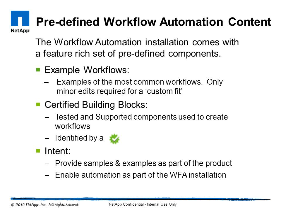 Pre-defined Workflow Automation Content