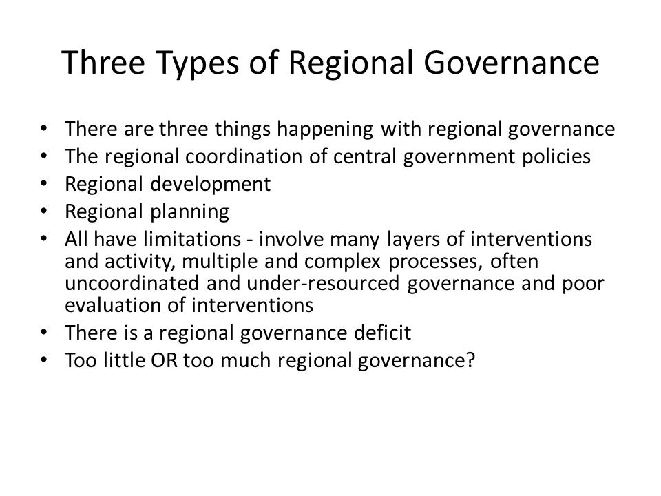Three Types of Regional Governance
