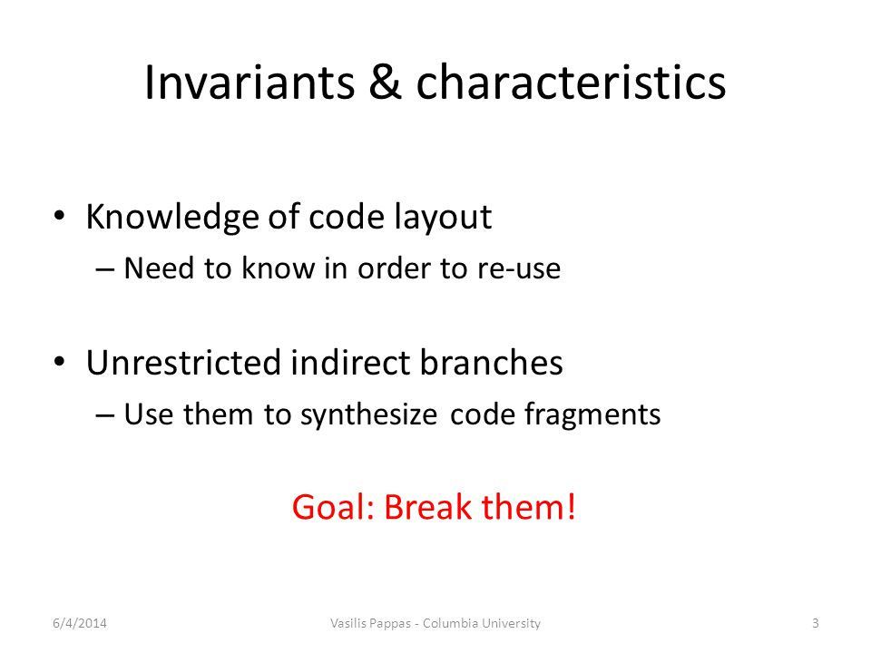 Invariants & characteristics