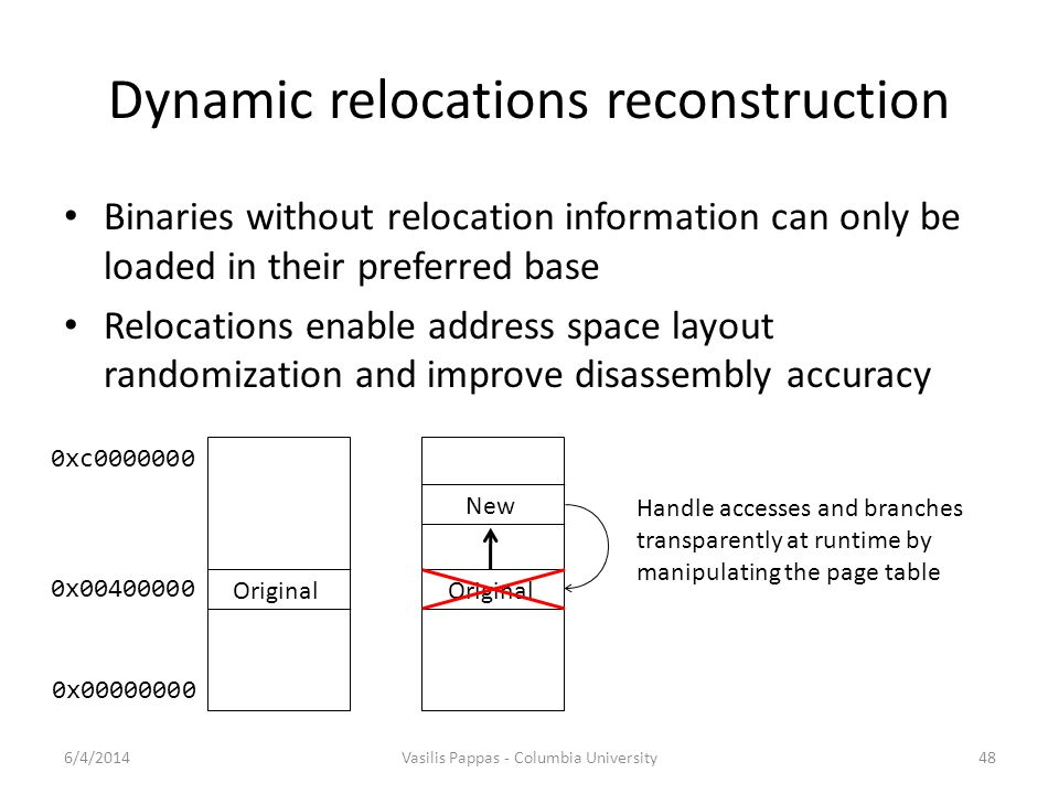 Dynamic relocations reconstruction
