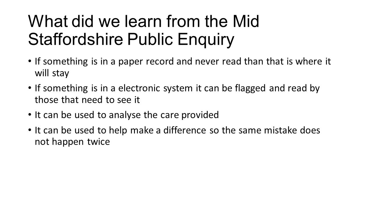 What did we learn from the Mid Staffordshire Public Enquiry