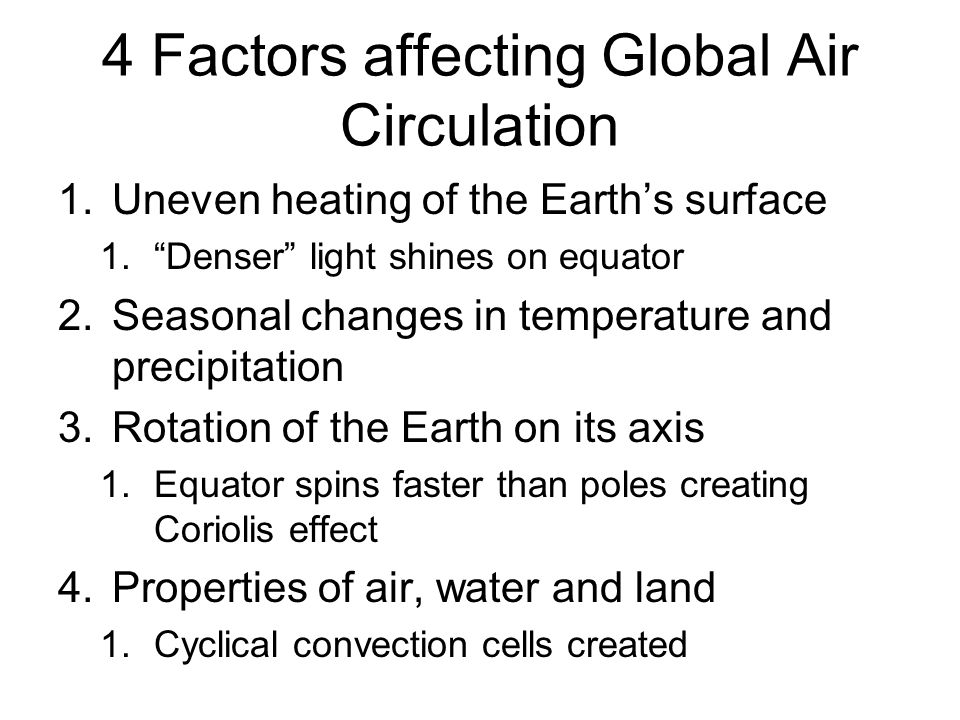 4 Factors affecting Global Air Circulation