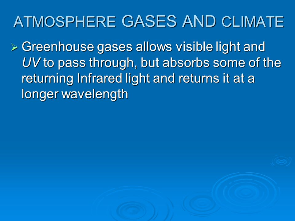 ATMOSPHERE GASES AND CLIMATE