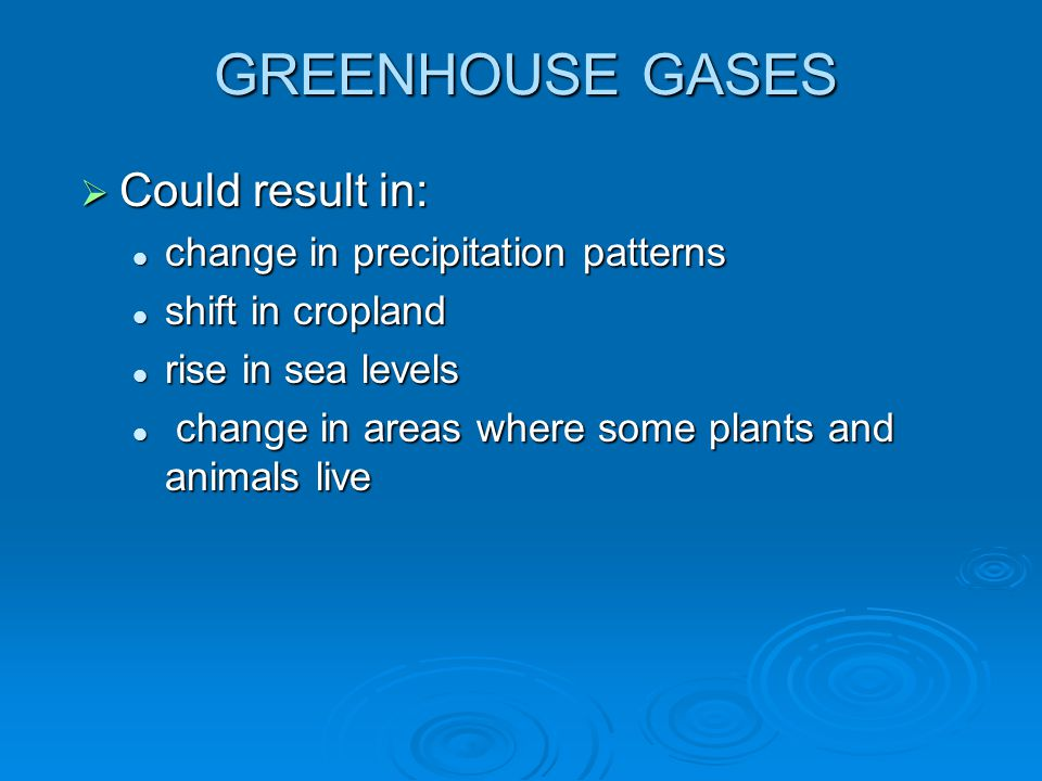 GREENHOUSE GASES Could result in: change in precipitation patterns