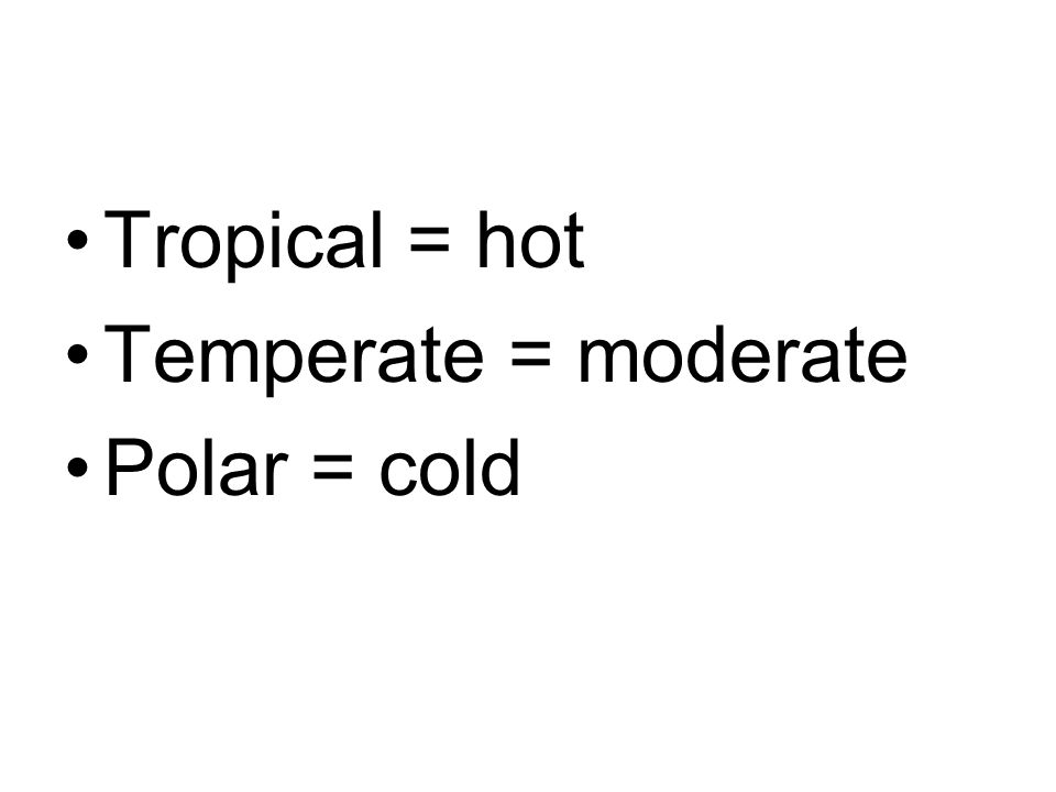 Tropical = hot Temperate = moderate Polar = cold