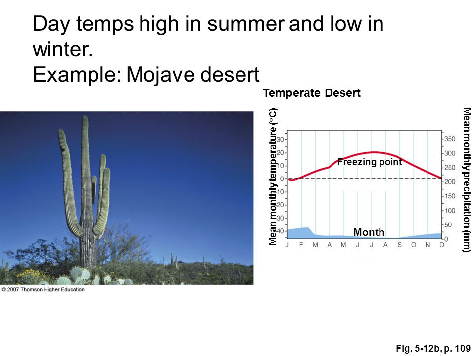 Day temps high in summer and low in winter. Example: Mojave desert