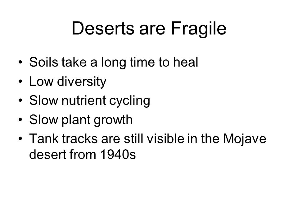 Deserts are Fragile Soils take a long time to heal Low diversity
