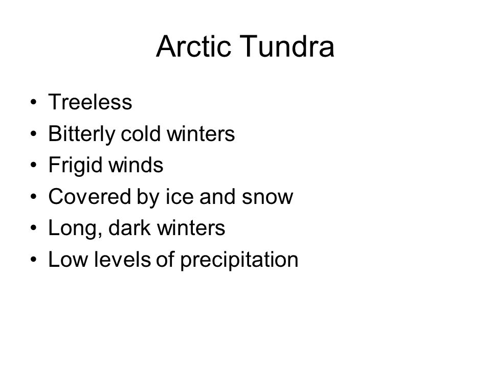 Arctic Tundra Treeless Bitterly cold winters Frigid winds
