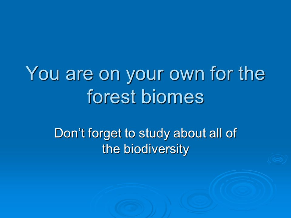 You are on your own for the forest biomes