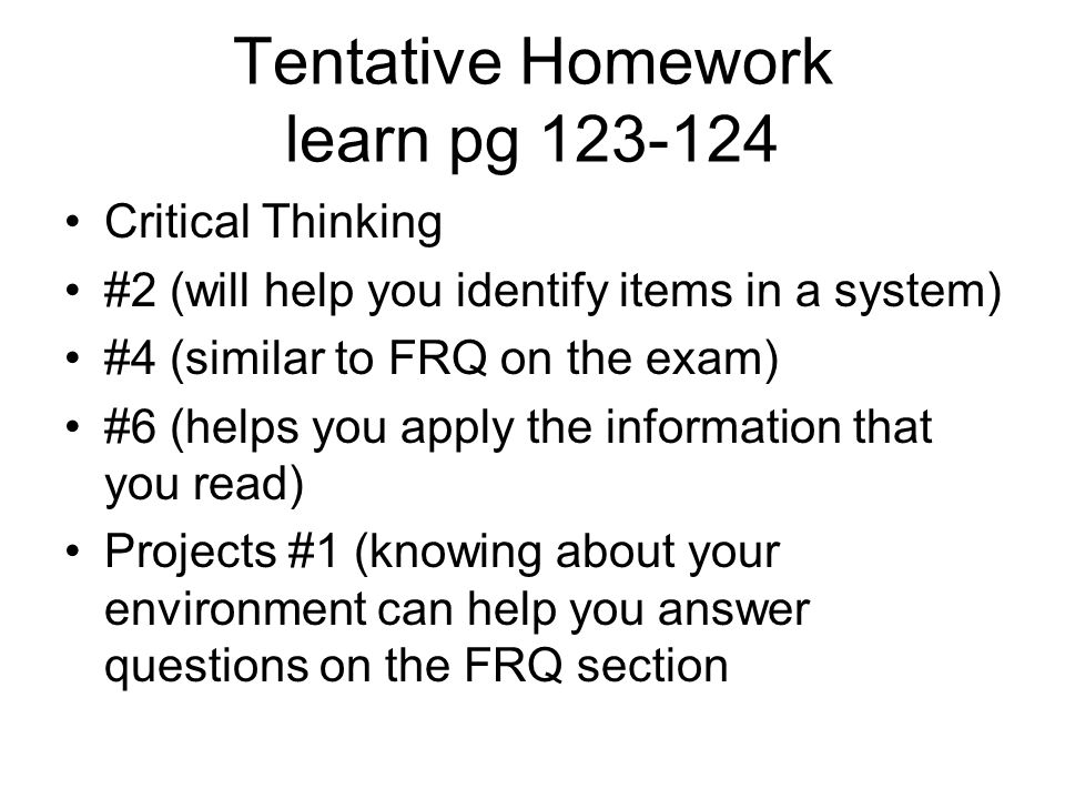 Tentative Homework learn pg 123-124