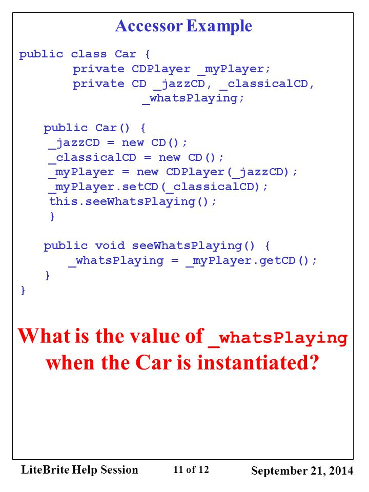 What is the value of _whatsPlaying when the Car is instantiated