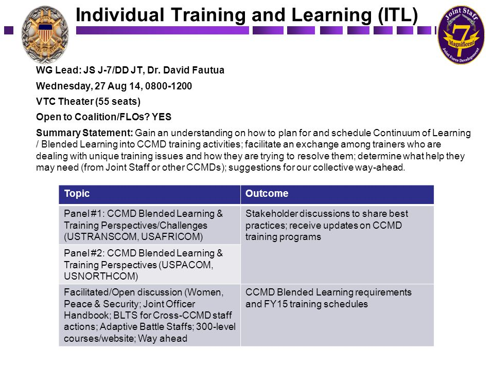 Individual Training and Learning (ITL)