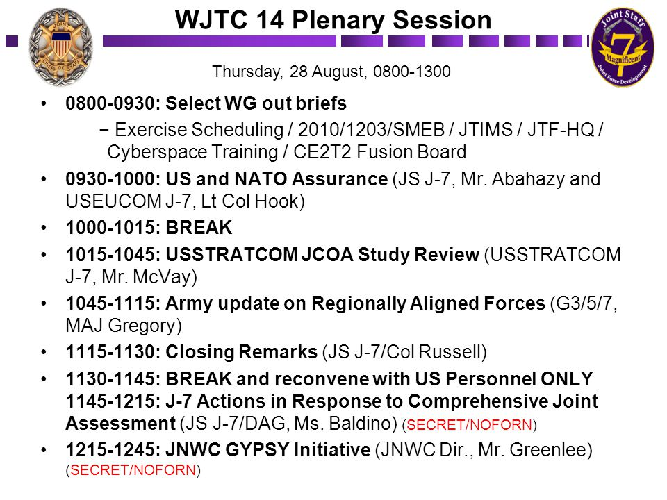 WJTC 14 Plenary Session 0800-0930: ­Select WG out briefs