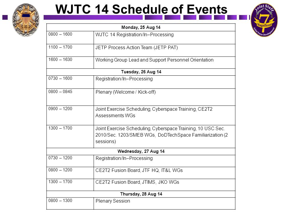 WJTC 14 Schedule of Events