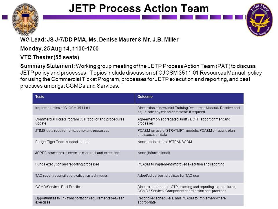 JETP Process Action Team