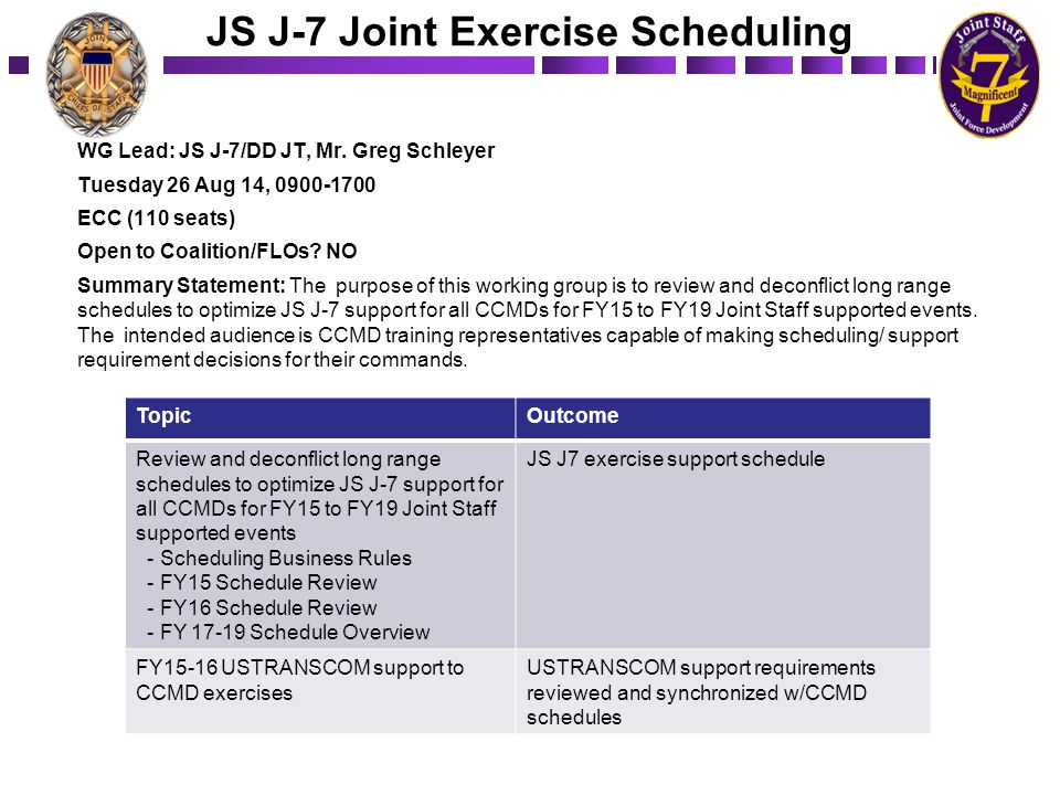 JS J-7 Joint Exercise Scheduling