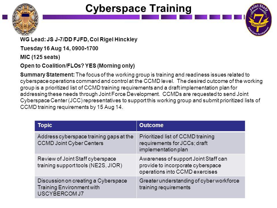 Cyberspace Training WG Lead: JS J-7/DD FJFD, Col Rigel Hinckley