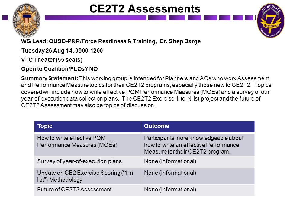 CE2T2 Assessments WG Lead: OUSD-P&R/Force Readiness & Training, Dr. Shep Barge. Tuesday 26 Aug 14, 0900-1200.