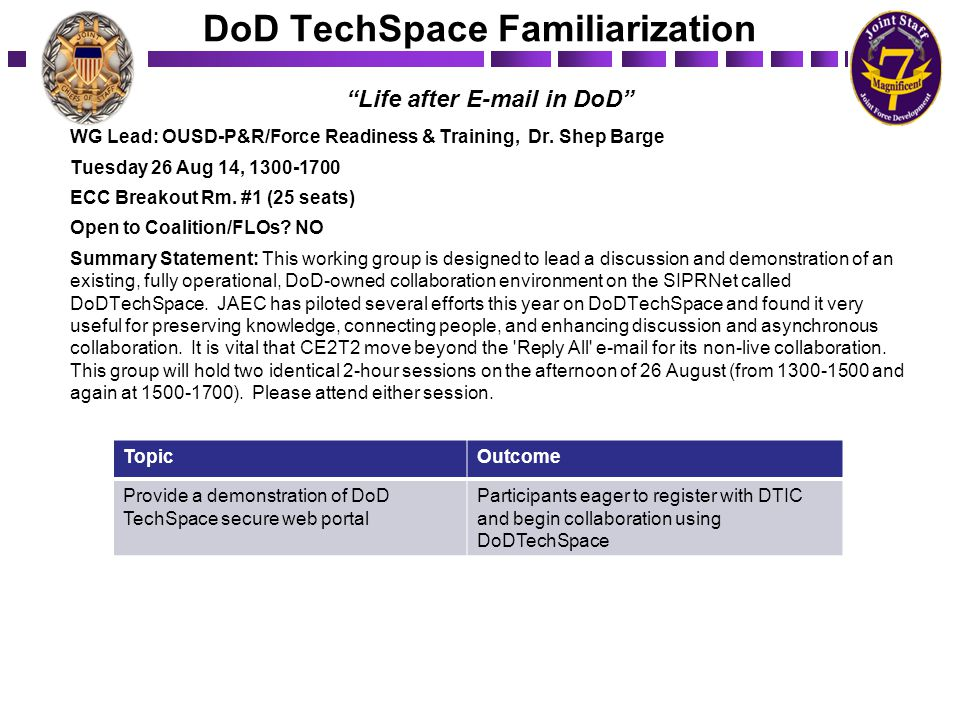 DoD TechSpace Familiarization