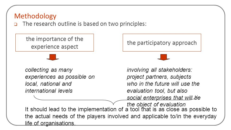 Methodology The research outline is based on two principles: