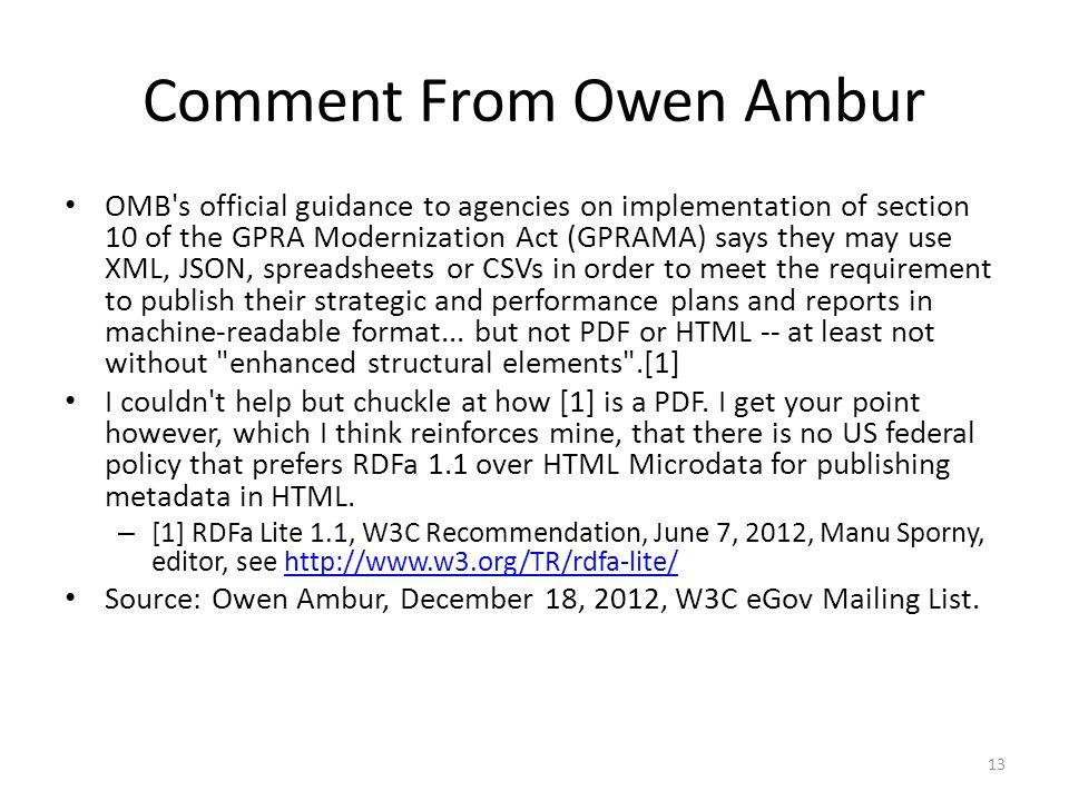 Comment From Owen Ambur