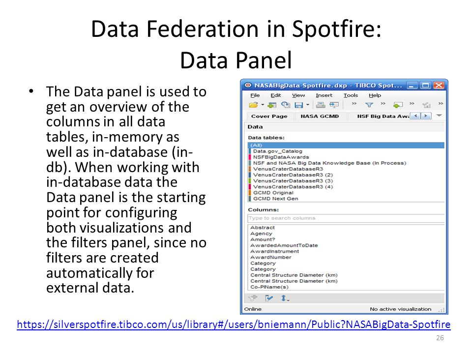 Data Federation in Spotfire: Data Panel