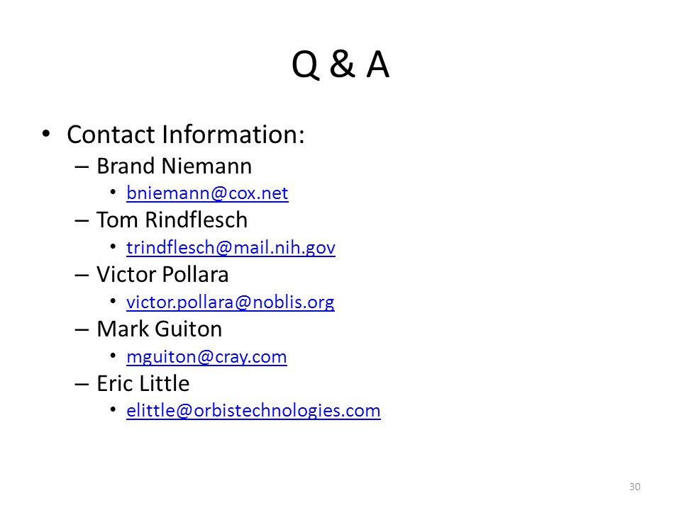 Q & A Contact Information: Brand Niemann. bniemann@cox.net. Tom Rindflesch. trindflesch@mail.nih.gov.