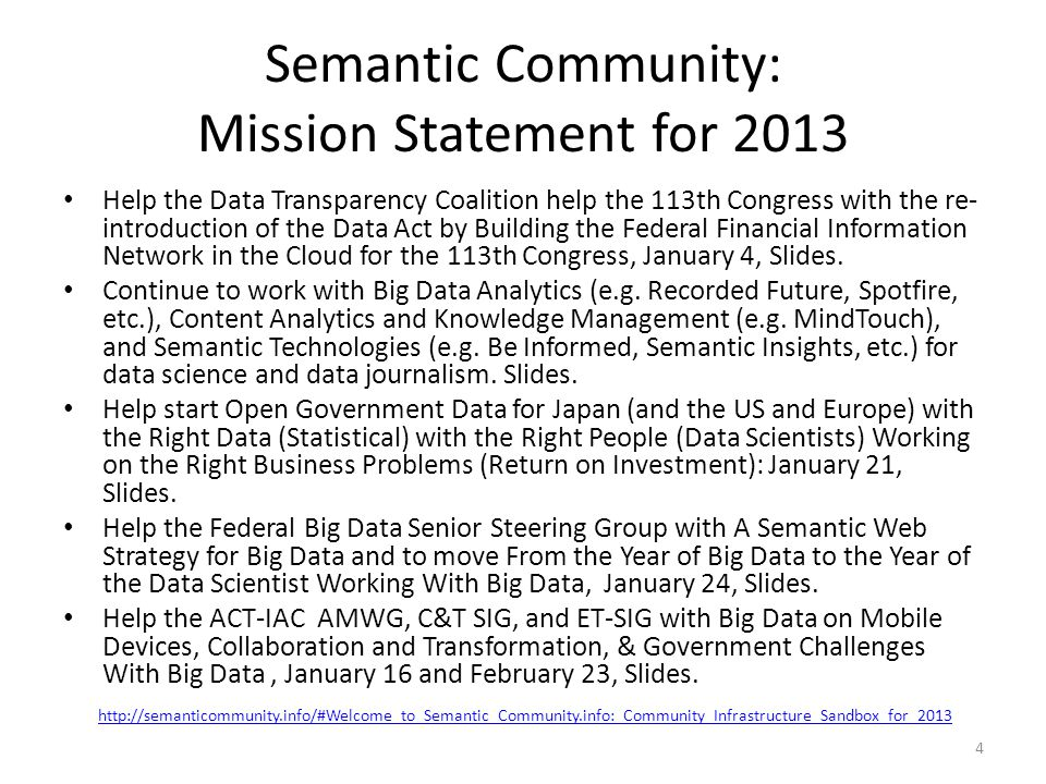 Semantic Community: Mission Statement for 2013