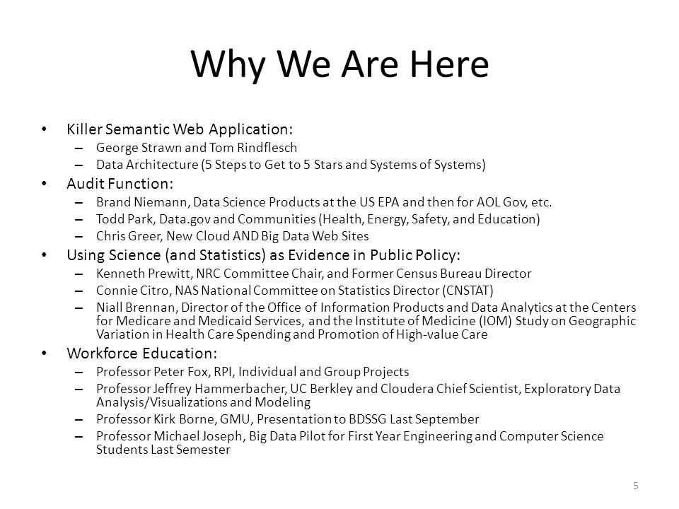 Why We Are Here Killer Semantic Web Application: Audit Function: