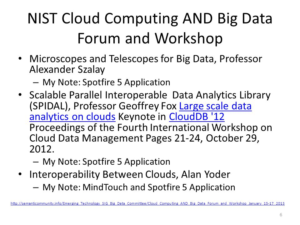 NIST Cloud Computing AND Big Data Forum and Workshop