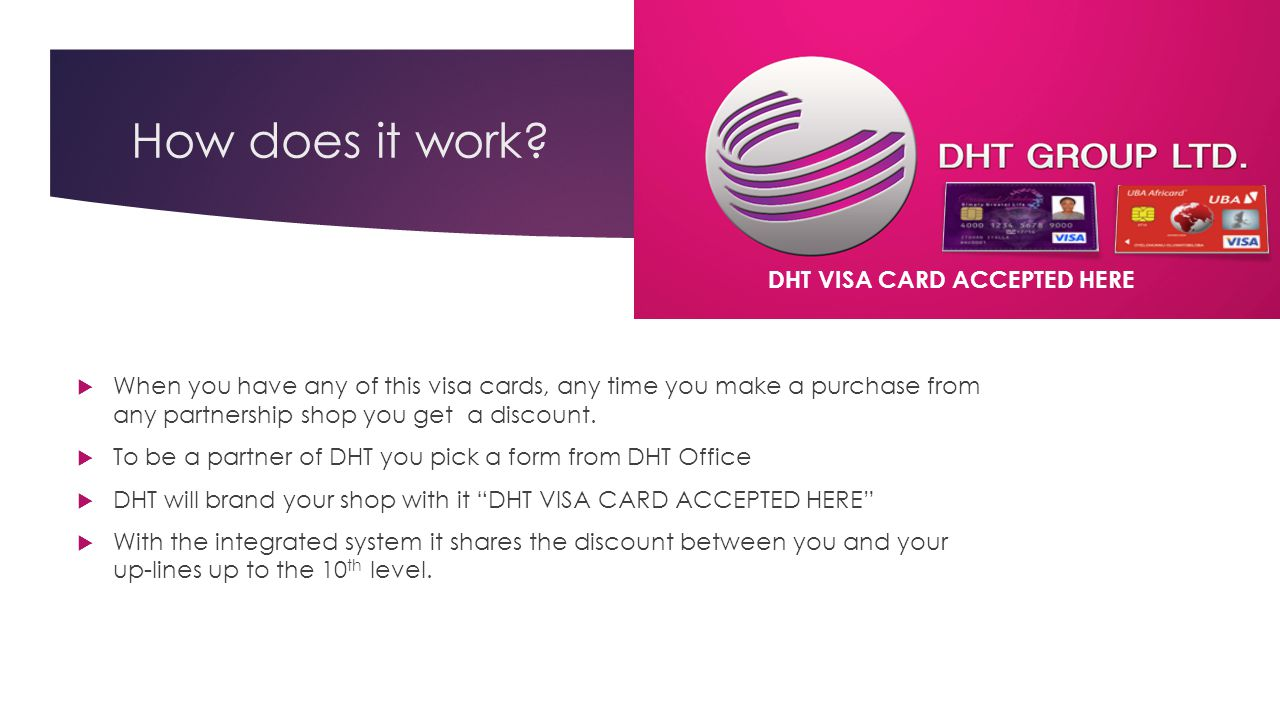 How does it work DHT VISA CARD ACCEPTED HERE