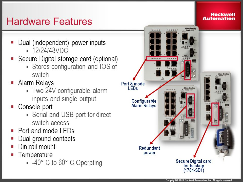 Configurable Alarm Relays Secure Digital card for backup