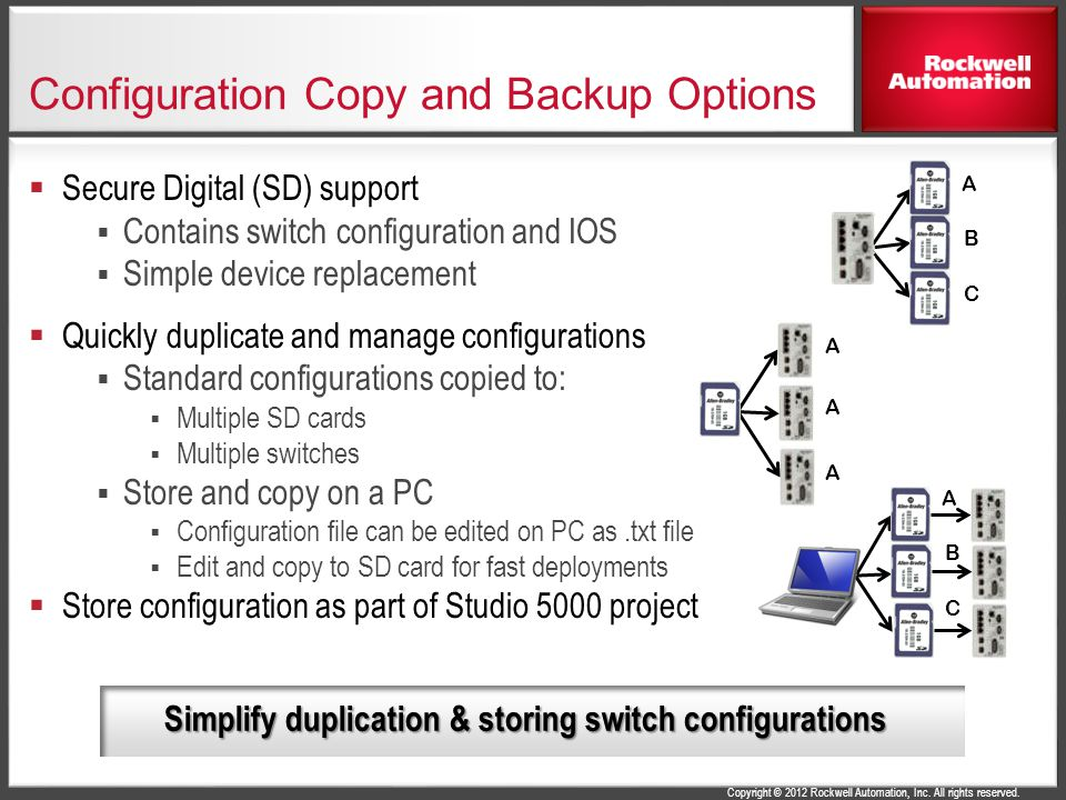 Configuration Copy and Backup Options