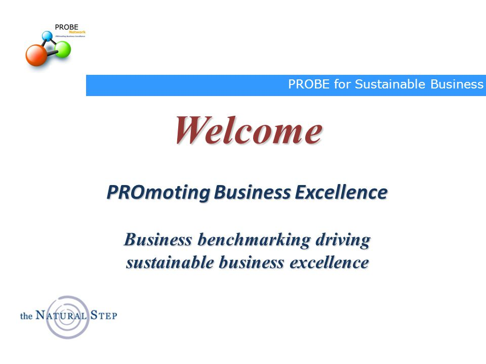 Welcome PROmoting Business Excellence Business benchmarking driving
