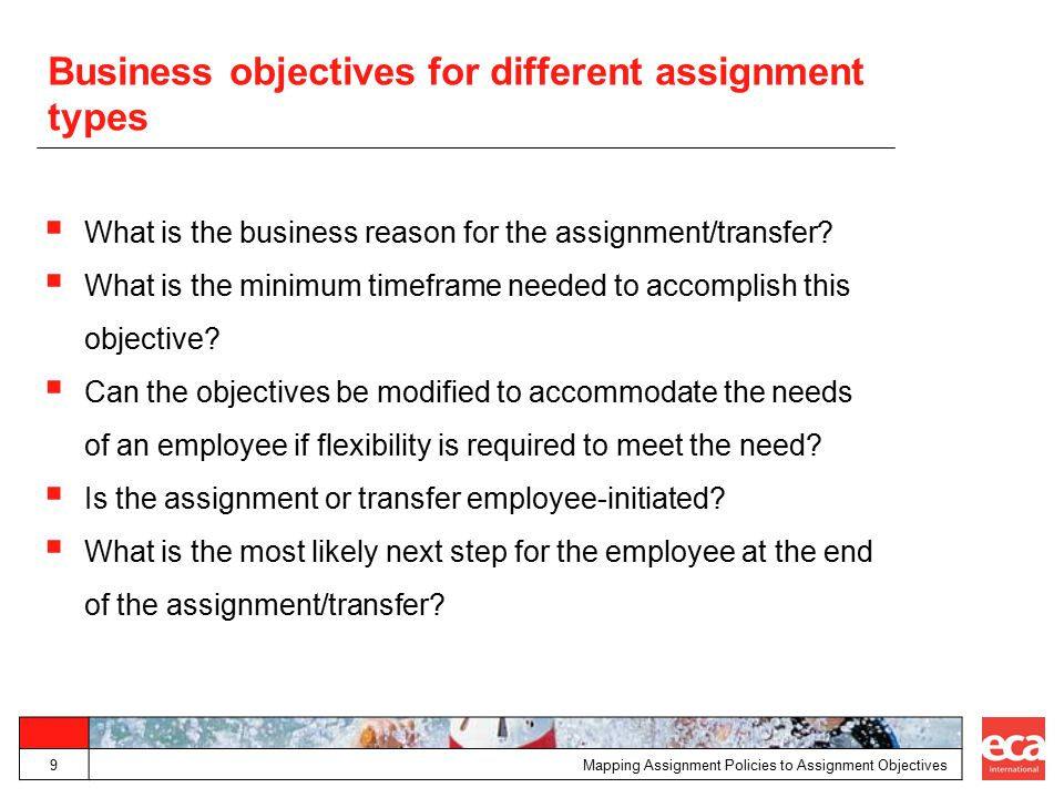 Business objectives for different assignment types