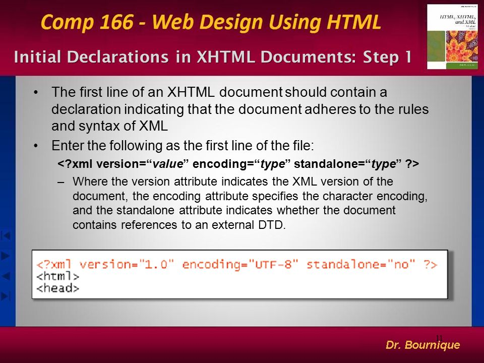 Initial Declarations in XHTML Documents: Step 1