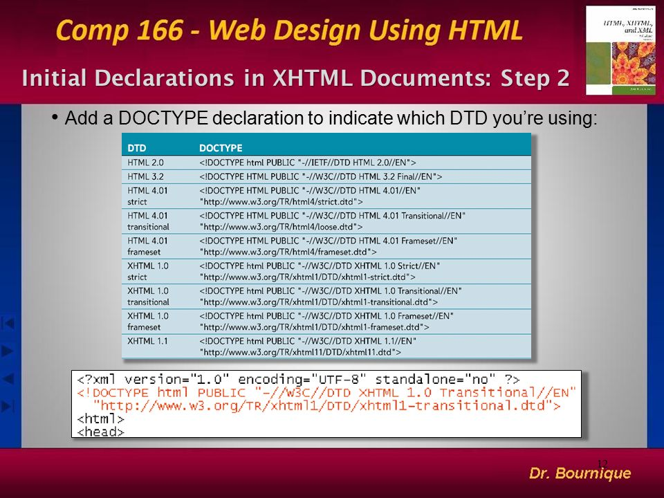 Initial Declarations in XHTML Documents: Step 2