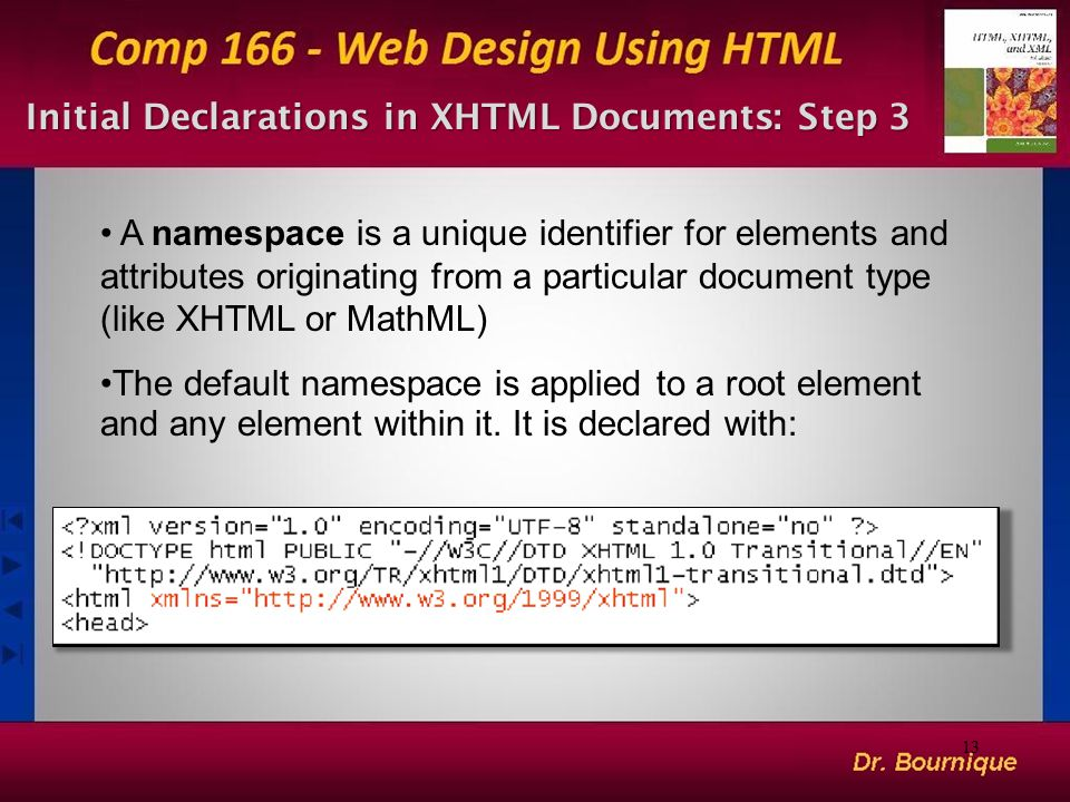 Initial Declarations in XHTML Documents: Step 3