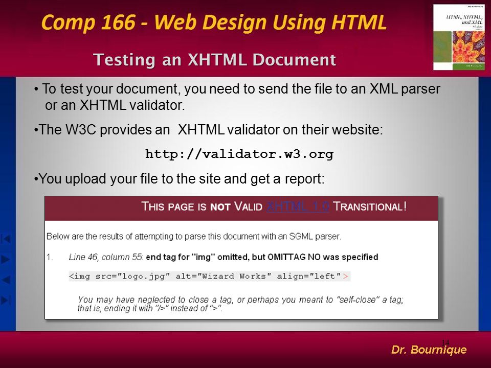 Testing an XHTML Document