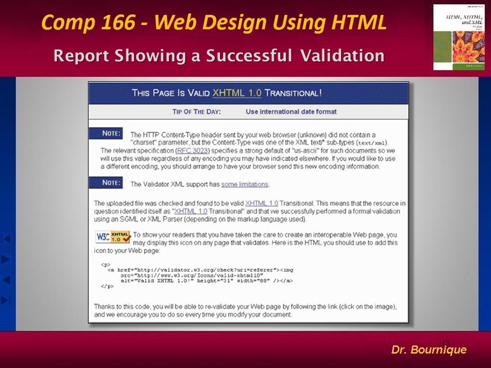 Report Showing a Successful Validation