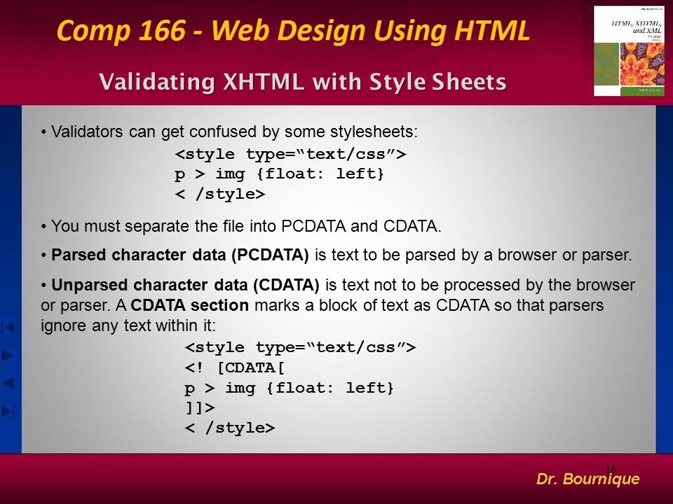 Validating XHTML with Style Sheets