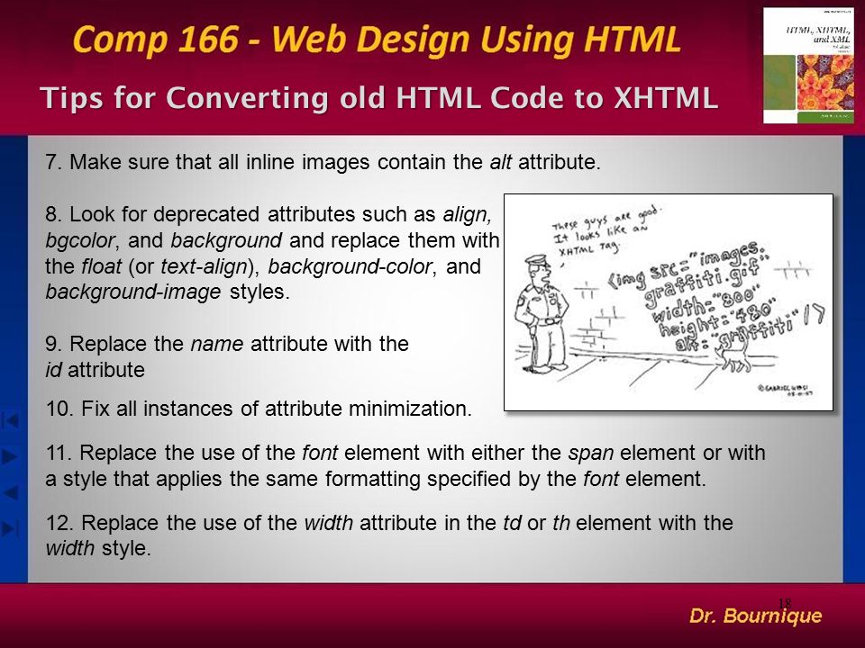Tips for Converting old HTML Code to XHTML