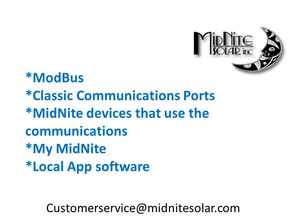 ModBus. Classic Communications Ports