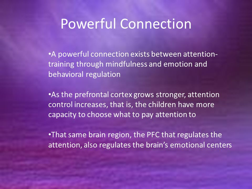 Powerful Connection A powerful connection exists between attention-training through mindfulness and emotion and behavioral regulation.