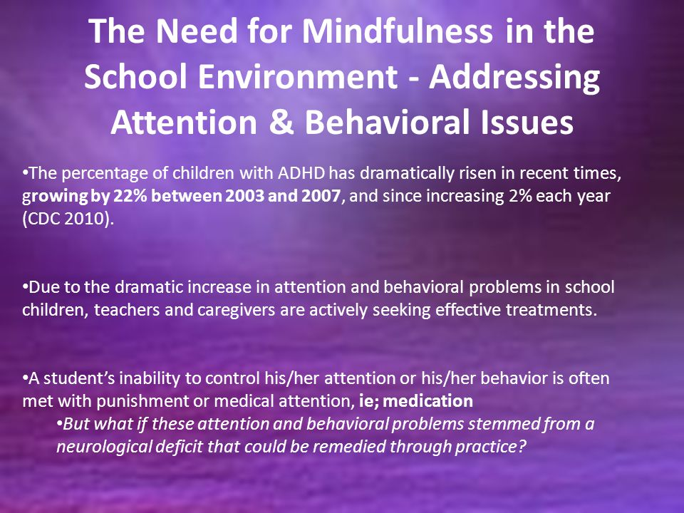 The Need for Mindfulness in the School Environment - Addressing Attention & Behavioral Issues