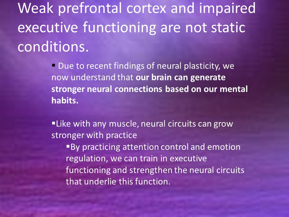 Weak prefrontal cortex and impaired executive functioning are not static conditions.