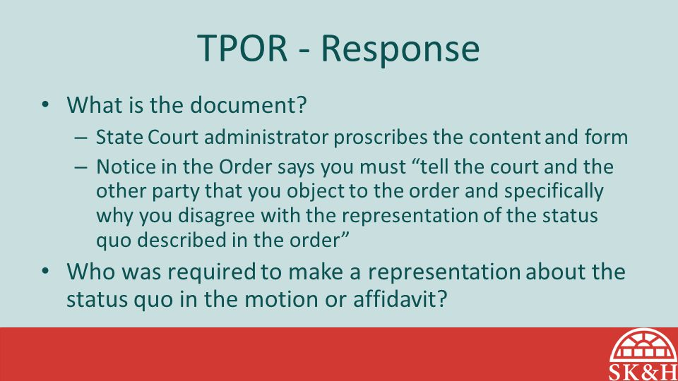 TPOR - Response What is the document