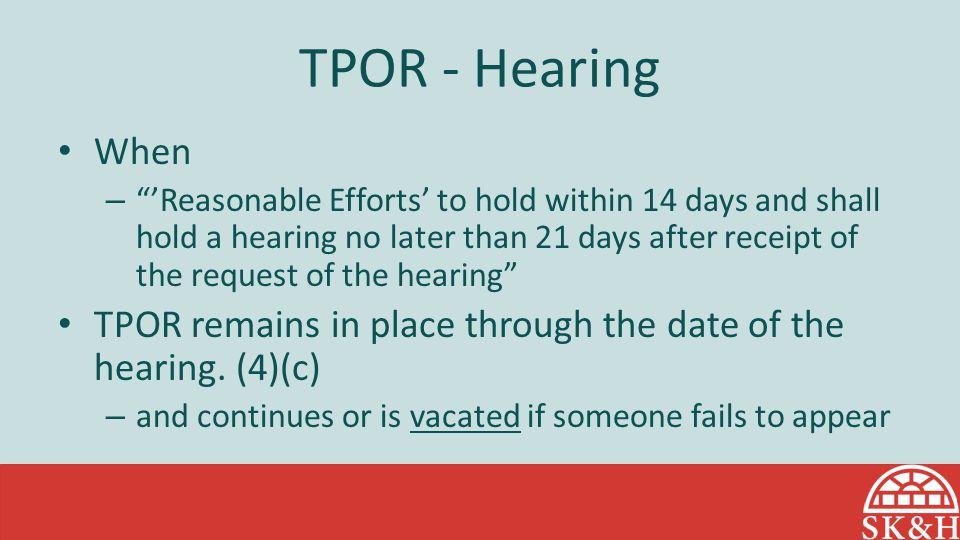 TPOR - Hearing When.